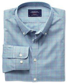 Extra slim fit blue multi check non-iron poplin shirt
