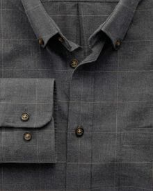 Classic fit dark grey check tweed look shirt