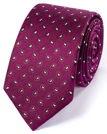 Slim magenta silk classic mini paisley tie