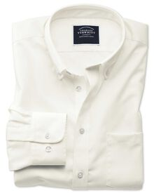 Slim fit button-down non-iron twill off-white shirt