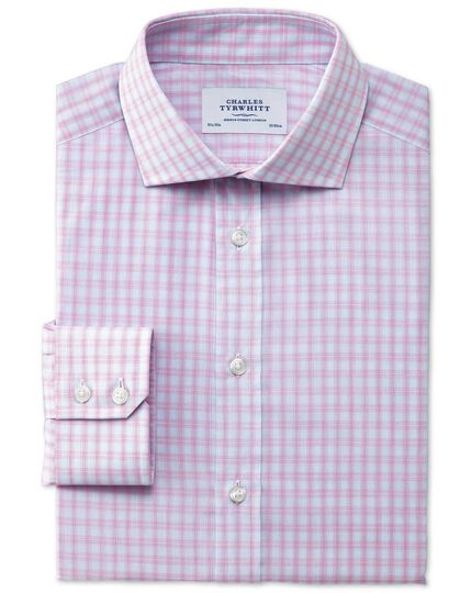 Slim fit spread collar Egyptian cotton compact check pink shirt