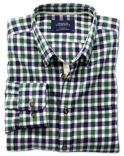 Classic fit green and navy check brushed dobby shirt