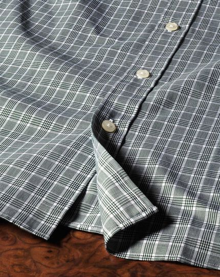 Slim fit Prince of Wales green shirt