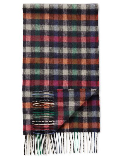 Multi block check cashmere and merino scarf