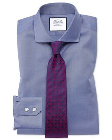 Slim fit cutaway collar non-iron twill mid blue shirt