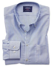 Slim fit non-iron Oxford royal blue bengal stripe shirt