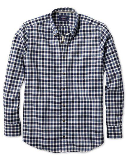 Extra Slim Fit Hemd aus gebürstetem Dobby in marineblau und blau mit Karos