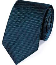 Blue silk plain classic tie