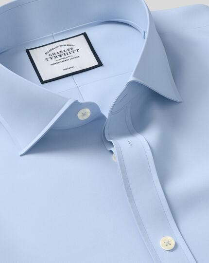 Super slim fit cutaway non-iron twill blue shirt