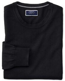 Black merino wool crew neck jumper