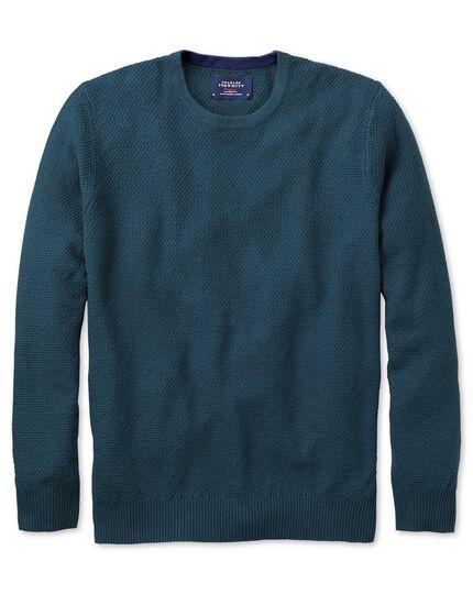 Teal merino cotton crew neck jumper