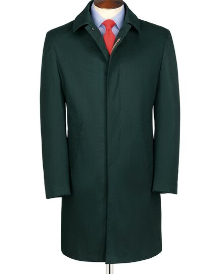 Slim fit green raincoat