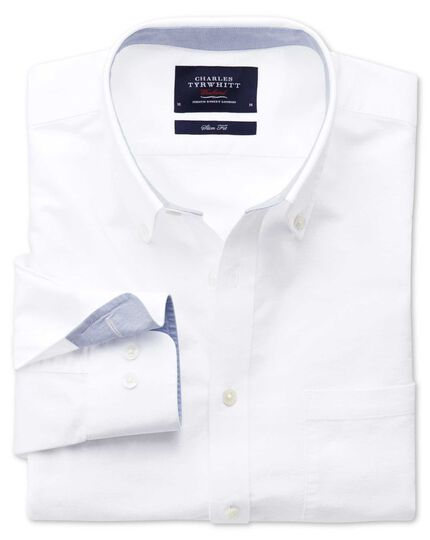 Slim fit white washed Oxford shirt