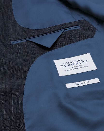 Classic Fit Businessanzug Sakko aus Fil-à-Fil in marineblau