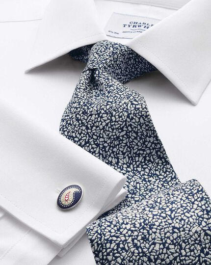 White and blue silk end-on-end luxury tie