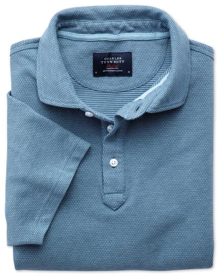 Blue and sky blue birds eye polo