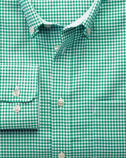 Slim fit non-iron Oxford gingham mid green shirt