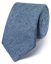 Blue silk luxury Italian textured fleck tie