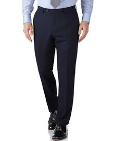 Navy slim fit herringbone business suit pants