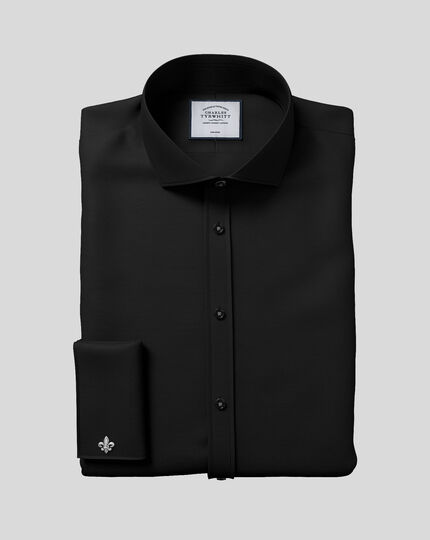 Slim fit spread collar non-iron black shirt