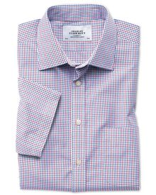 Classic fit non-iron multi grid check short sleeve shirt