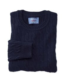 Navy lambswool cable knit crew neck sweater