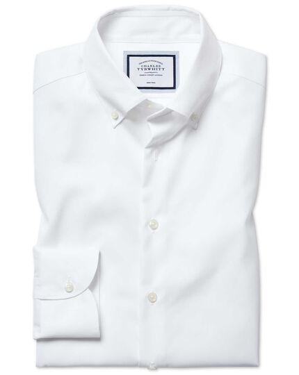 Slim fit button-down business casual non-iron white shirt