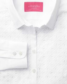 Women's semi-fitted white cutwork detail essential shirt