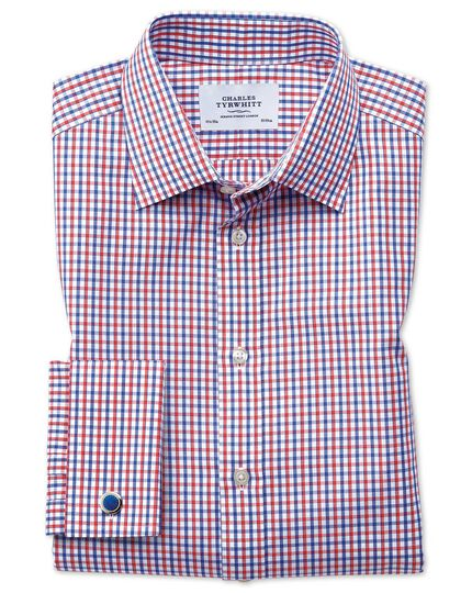 Classic fit two colour check red and blue shirt