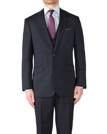Navy slim fit end-on-end business suit jacket