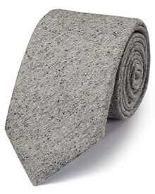 Grey silk luxury Italian textured fleck tie