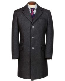 Slim fit Charcoal wool Epsom overcoat