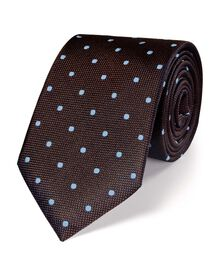 Brown and sky silk classic spot tie