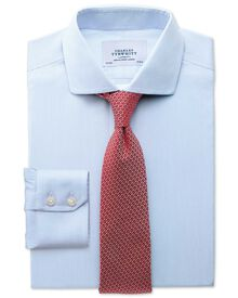 Slim fit spread collar non-iron mouline stripe sky shirt