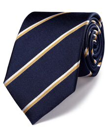 Navy and gold silk classic double striped tie