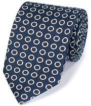 Navy and white silk printed circle English luxury tie