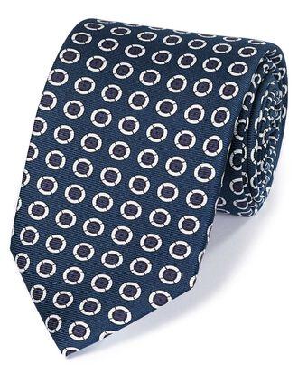 Cravate de luxe bleu marine et blanche en soie anglaise à motif cercle