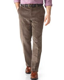 Beige classic fit cord trouser