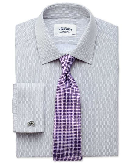 Extra slim fit Egyptian cotton diamond texture light grey shirt