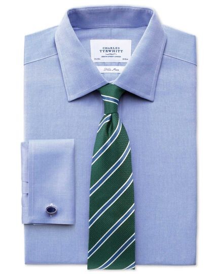 Green and mid blue classic textured striped tie