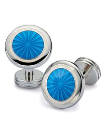 Bright blue enamel starburst cuff links