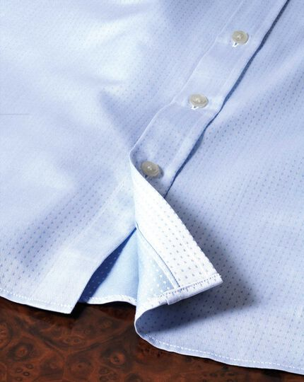 Slim fit spread collar Egyptian cotton textured dobby  sky blue shirt