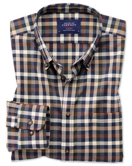 Bügelfreies Classic Fit Twill-Hemd in Braun mit Bunten Karos