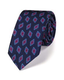 Navy luxury wool diamond print slim tie