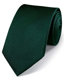 Dark green silk classic plain tie