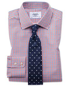 Slim fit two color check red and blue shirt