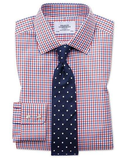 Slim Fit Hemd in Rot und Blau mit Karos