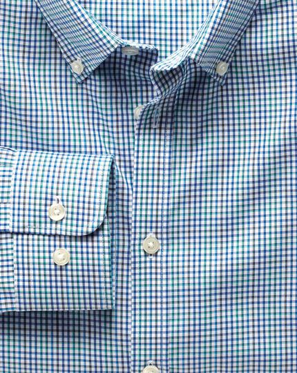 Extra slim fit non-iron poplin blue multi check shirt
