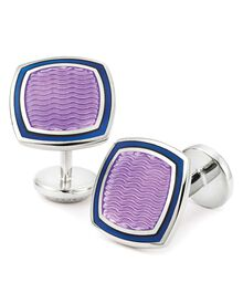 Lilac wave square enamel cuff links