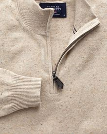 Stone cotton cashmere zip neck sweater